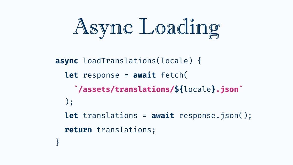 Async Loading async loadTranslations(locale) { ...