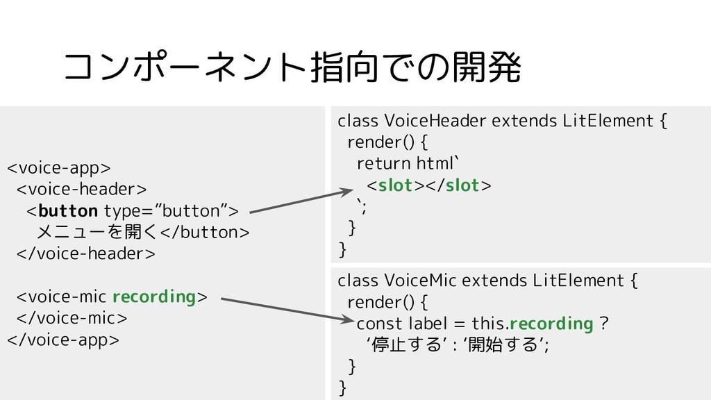 コンポーネント指向での開発 <voice-app> <voice-header> <butto...