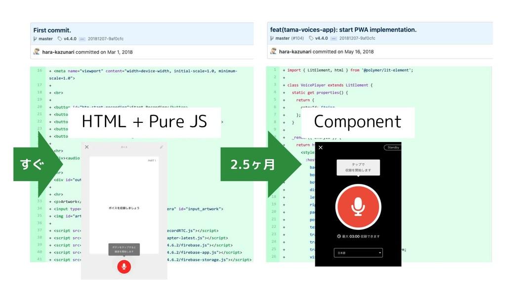 2.5ヶ月 HTML + Pure JS Component すぐ