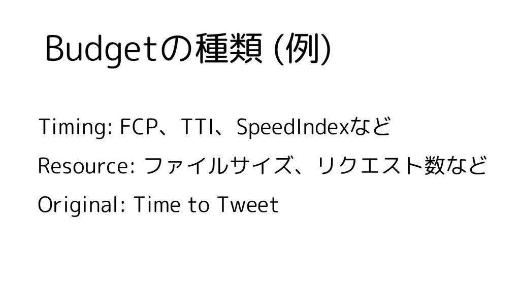 Budgetの種類 (例) Timing: FCP、TTI、SpeedIndexなど Reso...