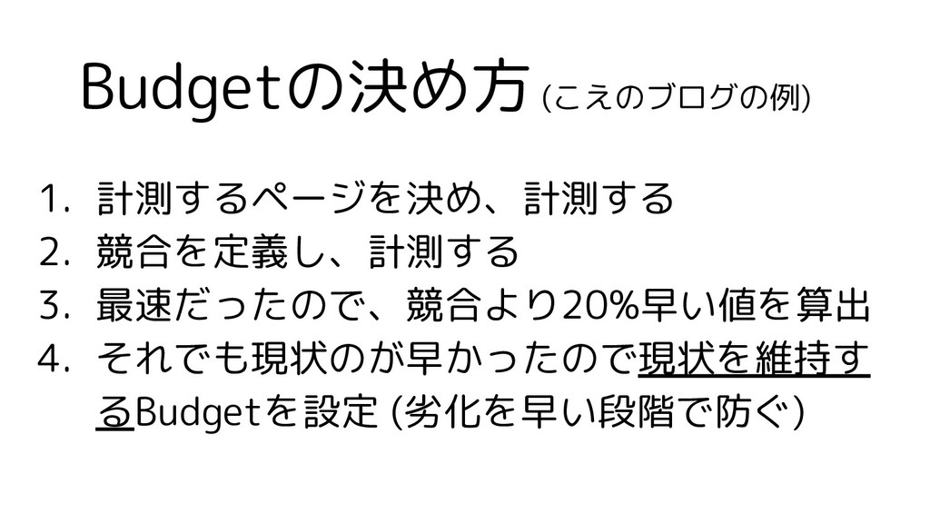 Budgetの決め方 (こえのブログの例) 1. 計測するページを決め、計測する 2. 競合を...