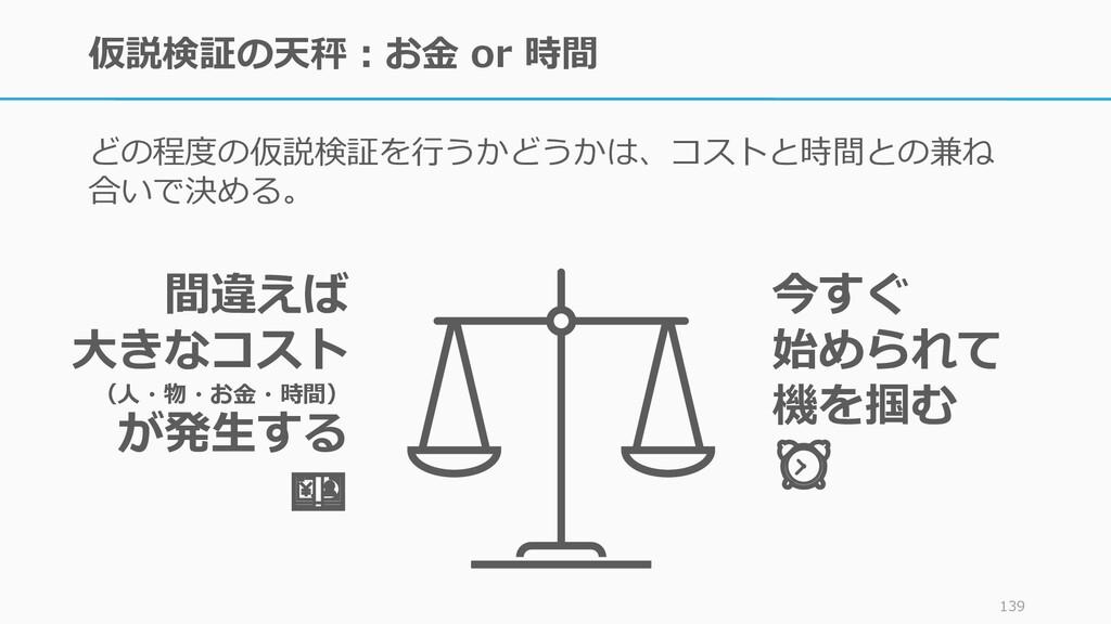 仮説検証の天秤:お金 or 時間 どの程度の仮説検証を行うかどうかは、コストと時間との兼ね 合...