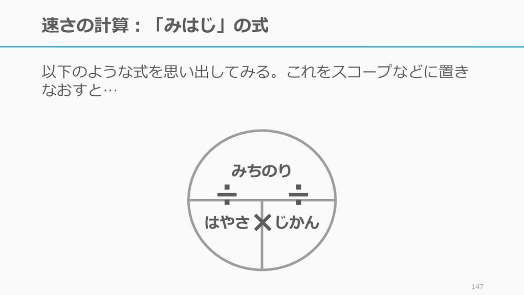 速さの計算:「みはじ」の式 以下のような式を思い出してみる。これをスコープなどに置き なおすと...