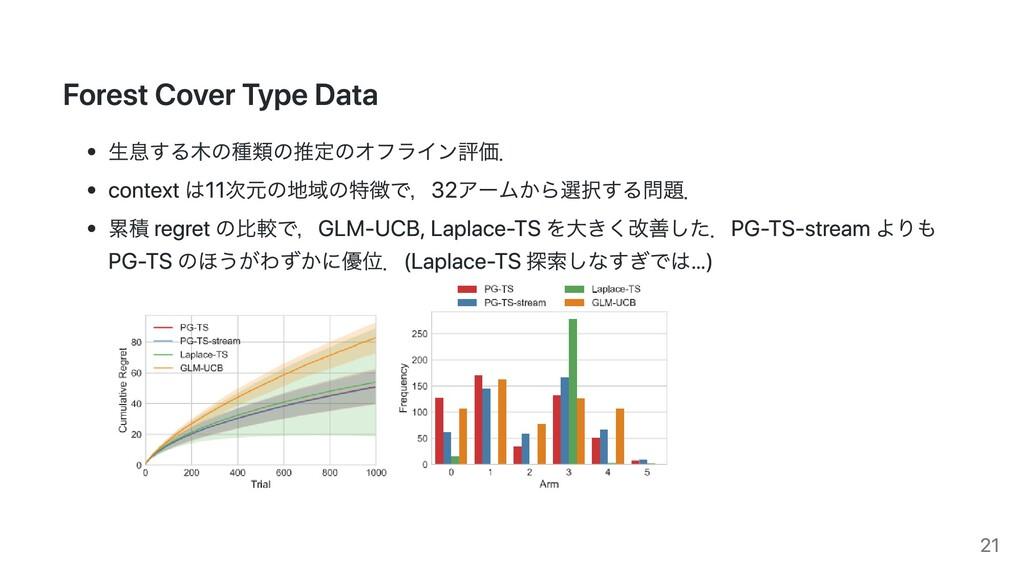 Forest Cover Type Data ⽣息する⽊の種類の推定のオフライン評価. con...
