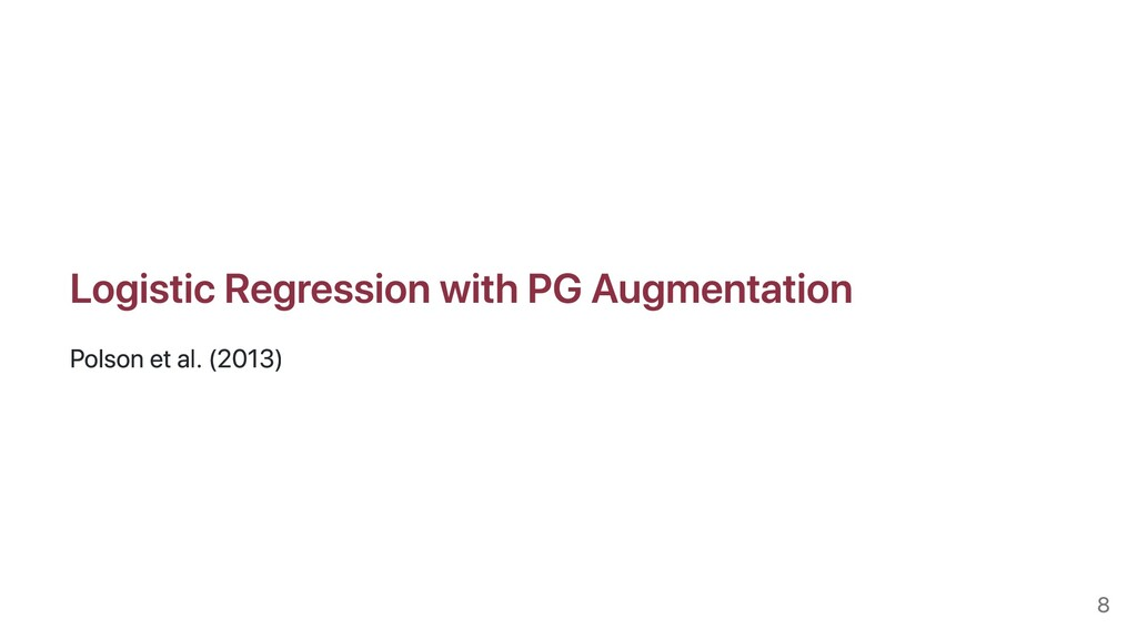 Logistic Regression with PG Augmentation Polson...