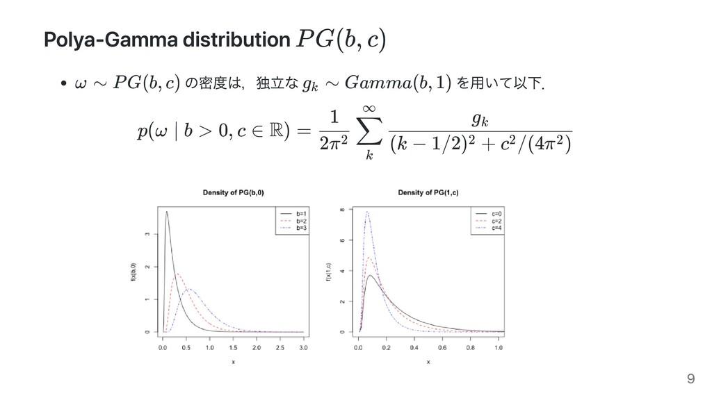 Polya-Gamma distribution の密度は,独⽴な を⽤いて以下. p(ω ∣...