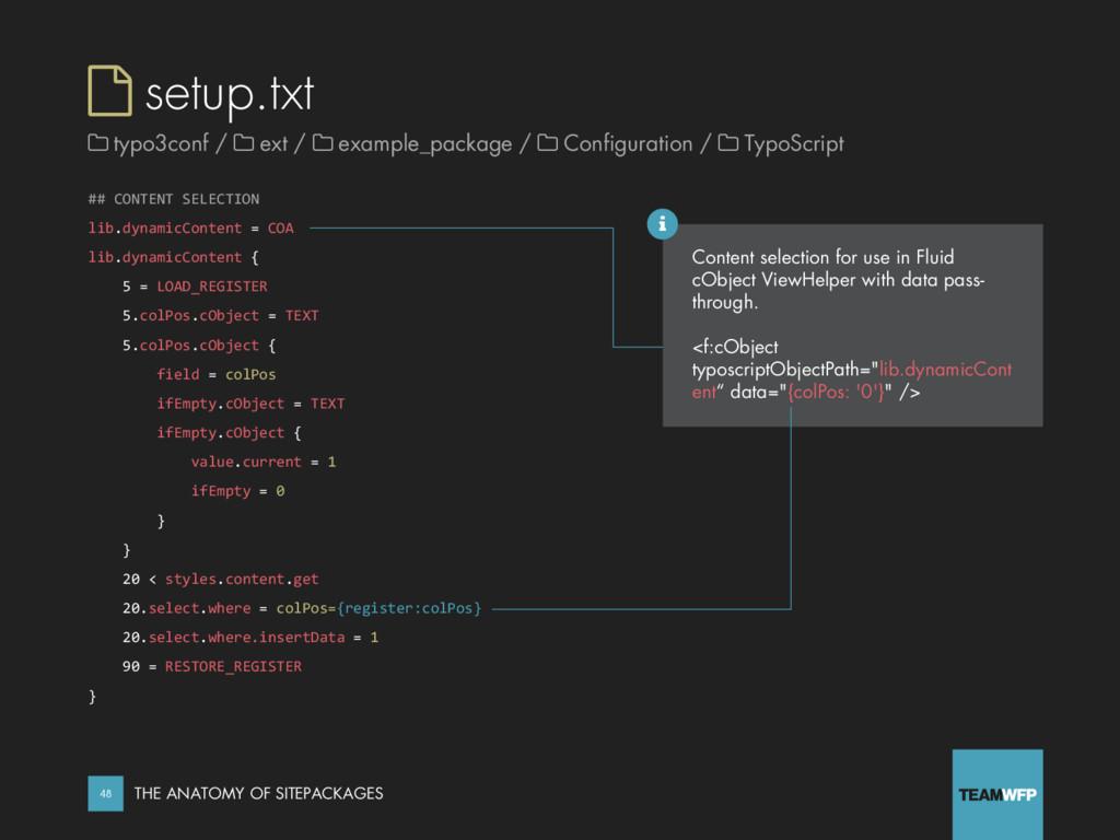  setup.txt ## CONTENT SELECTION lib.dynamicCon...