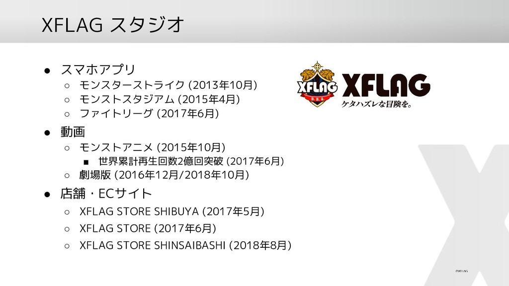 XFLAG スタジオ ● スマホアプリ ○ モンスターストライク (2013年10月) ○ モ...