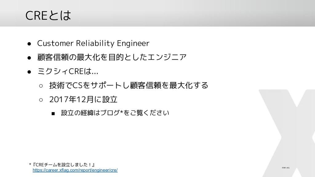CREとは ● Customer Reliability Engineer ● 顧客信頼の最大...