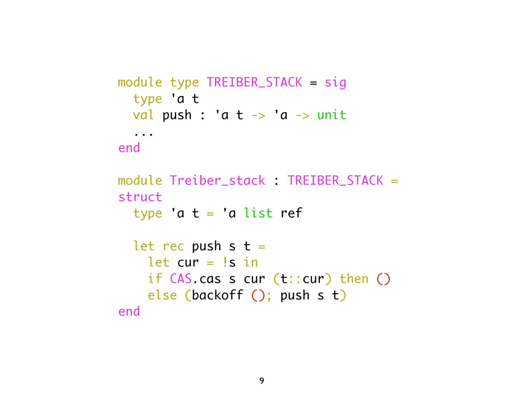 module type TREIBER_STACK = sig type 'a t val p...