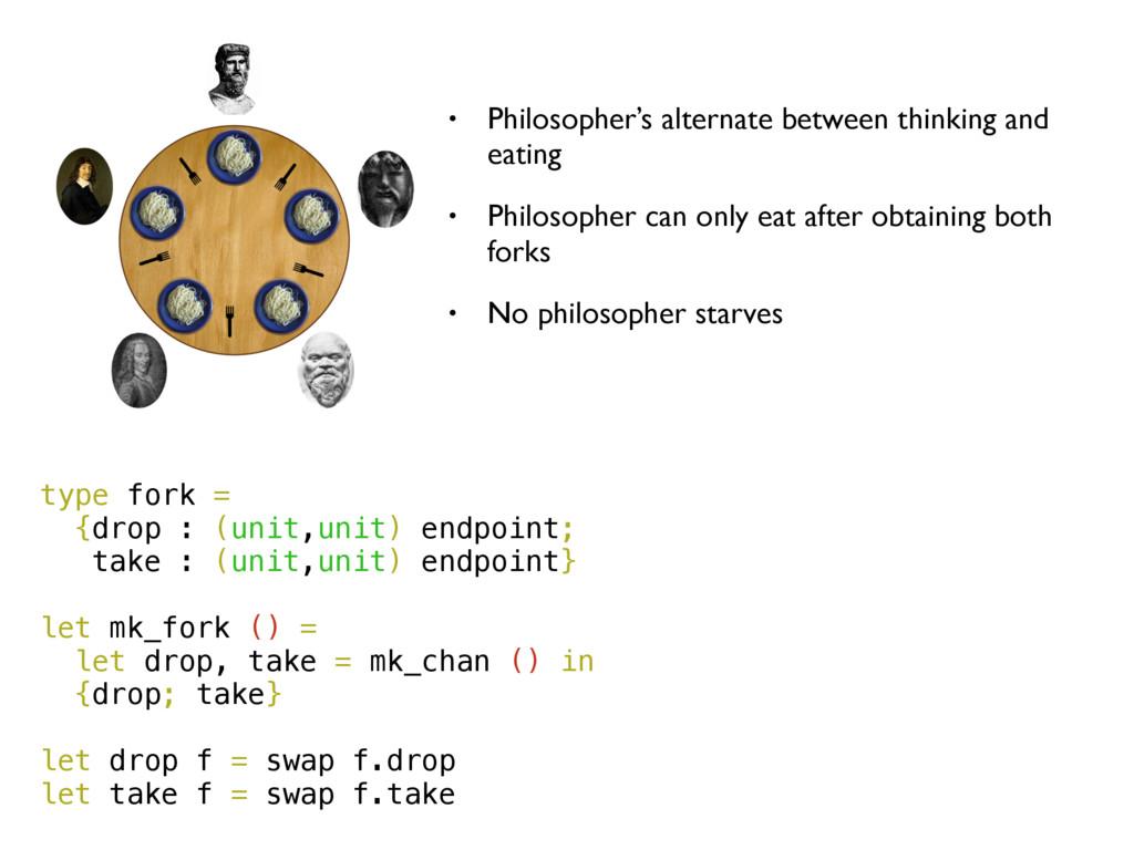 type fork = {drop : (unit,unit) endpoint; take ...