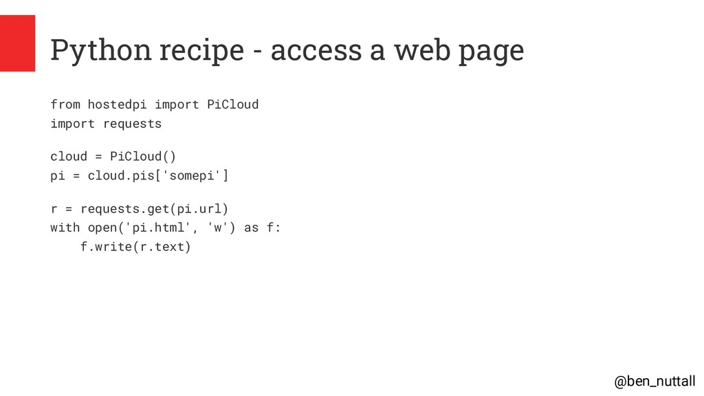 @ben_nuttall Python recipe - access a web page ...