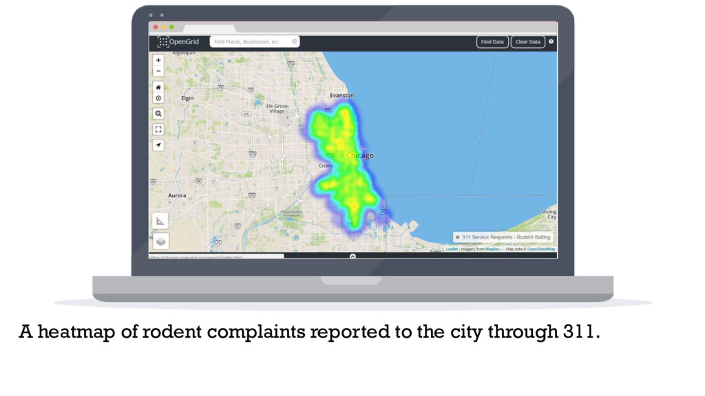 A heatmap of rodent complaints reported to the ...