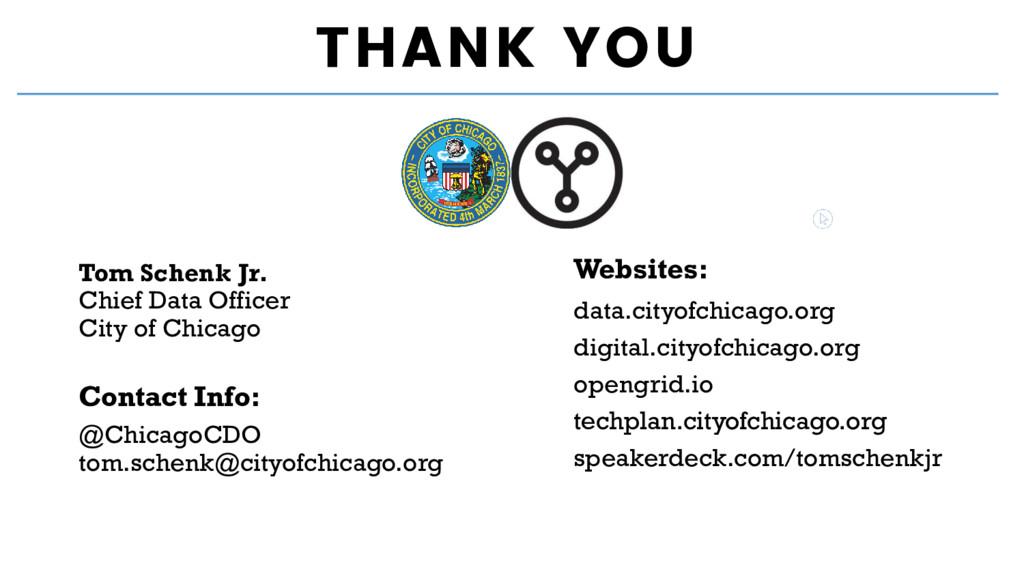 THANK YOU Contact Info: Websites: Tom Schenk Jr...