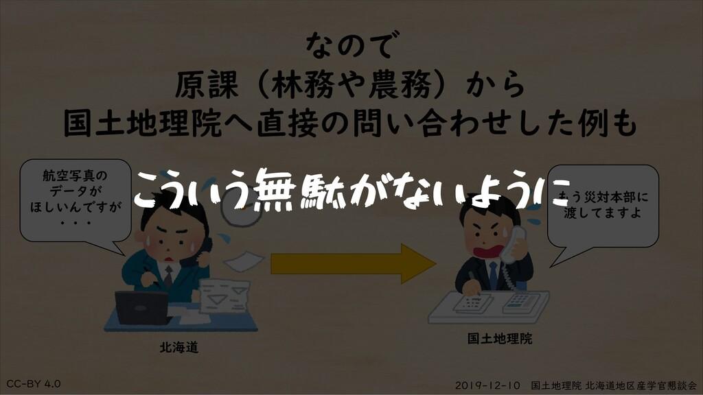 CC-BY 4.0 2019-12-10 国土地理院 北海道地区産学官懇談会 なので 原課(林...