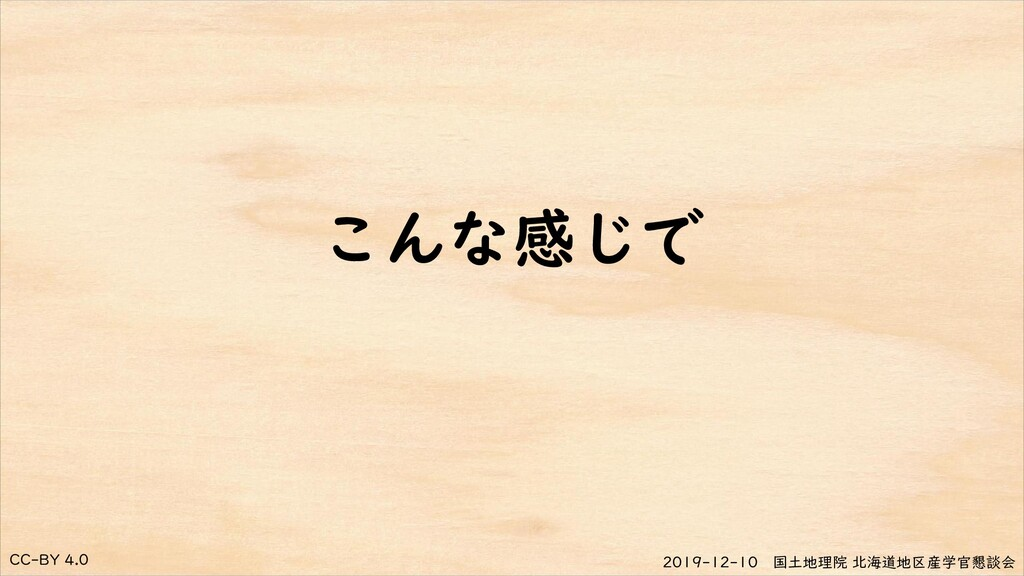 CC-BY 4.0 2019-12-10 国土地理院 北海道地区産学官懇談会 こんな感じで