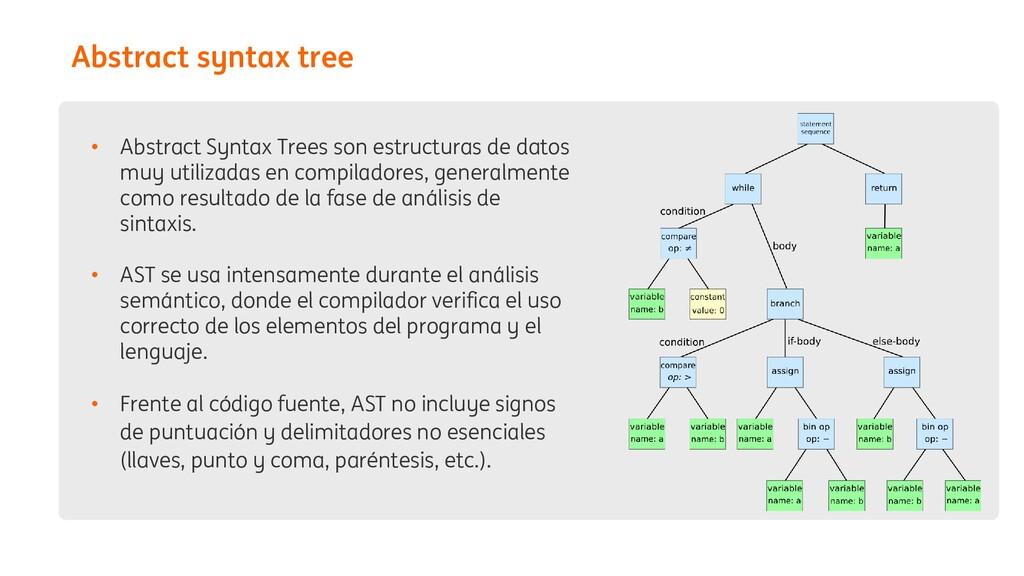 • Abstract Syntax Trees son estructuras de dato...