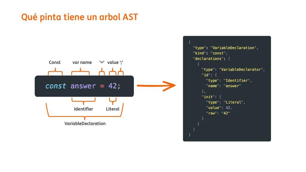 Qué pinta tiene un arbol AST Const var name '='...