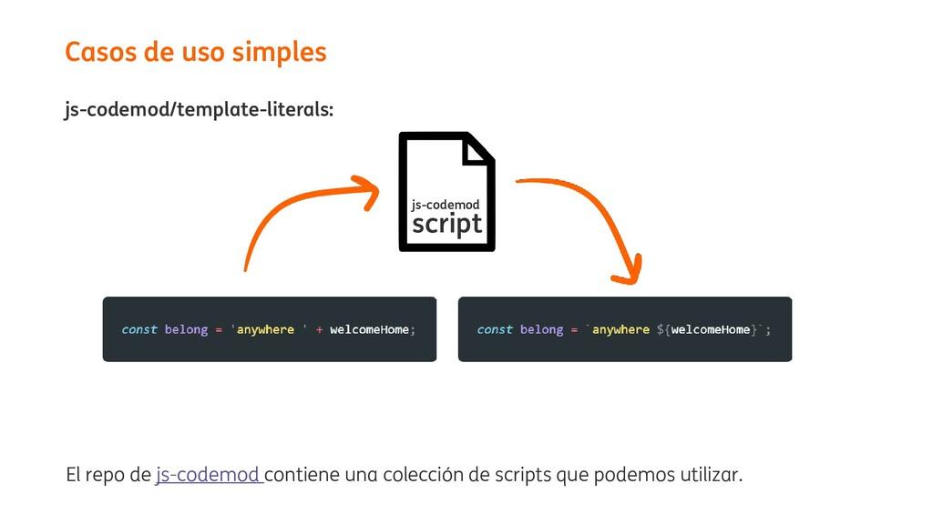 js-codemod/template-literals: Casos de uso simp...