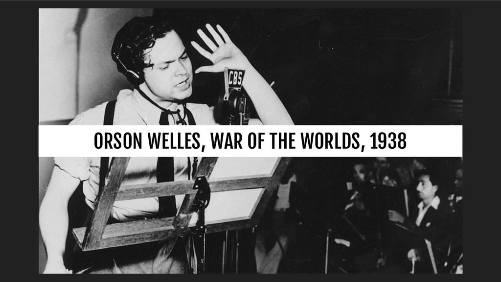 ORSON WELLES, WAR OF THE WORLDS, 1938