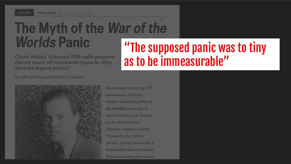"""The supposed panic was to tiny as to be immeas..."