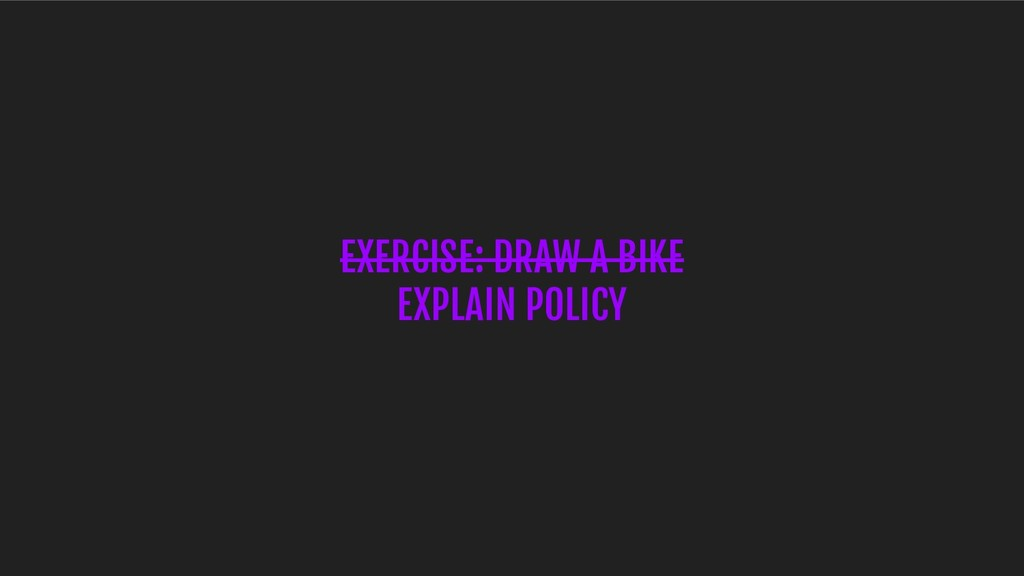 EXERCISE: DRAW A BIKE EXPLAIN POLICY