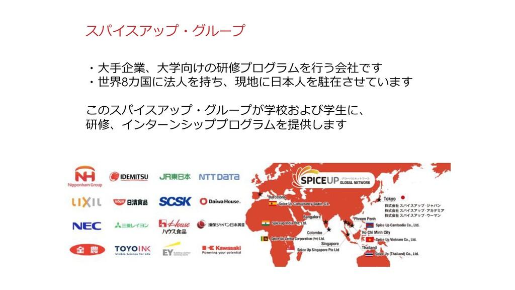 2 スパイスアップ・グループ ・⼤⼿企業、⼤学向けの研修プログラムを⾏う会社です ・世界8カ国...