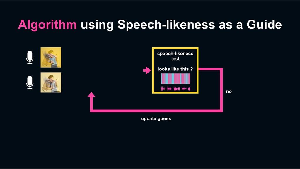 Algorithm using Speech-likeness as a Guide no u...