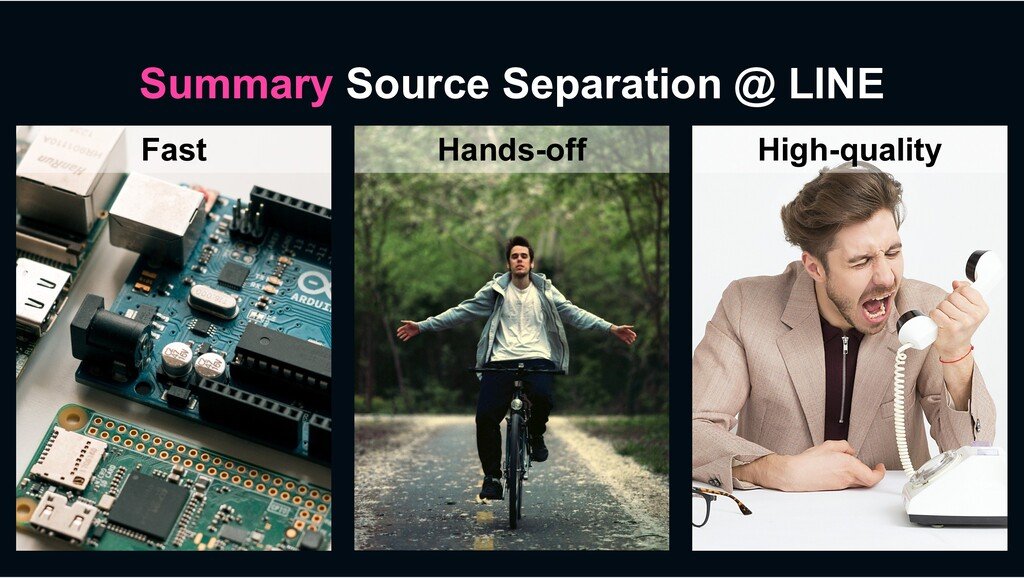 Summary Source Separation @ LINE Fast Hands-off...