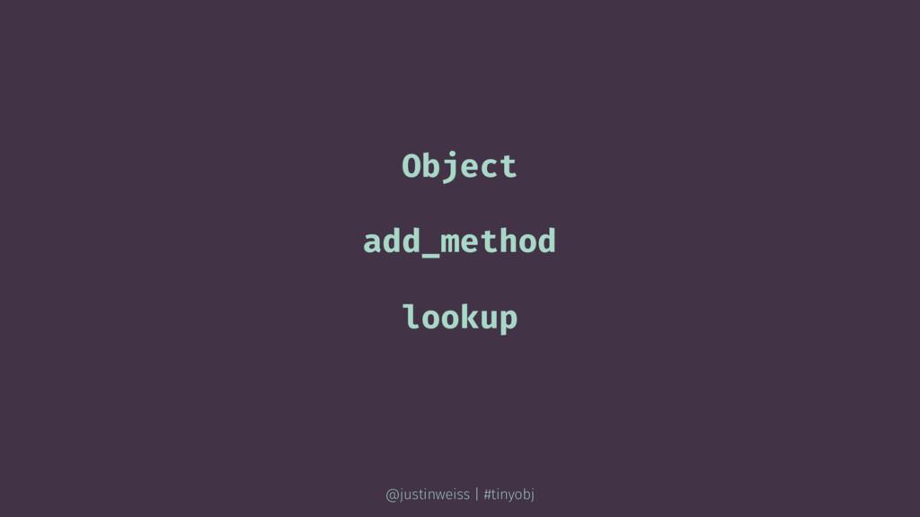 Object add_method lookup @justinweiss | #tinyobj