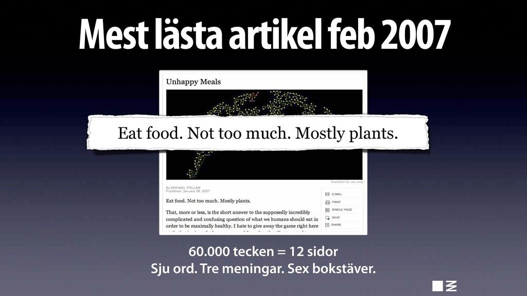 Mest lästa artikel feb 2007 60.000 tecken = 12 ...