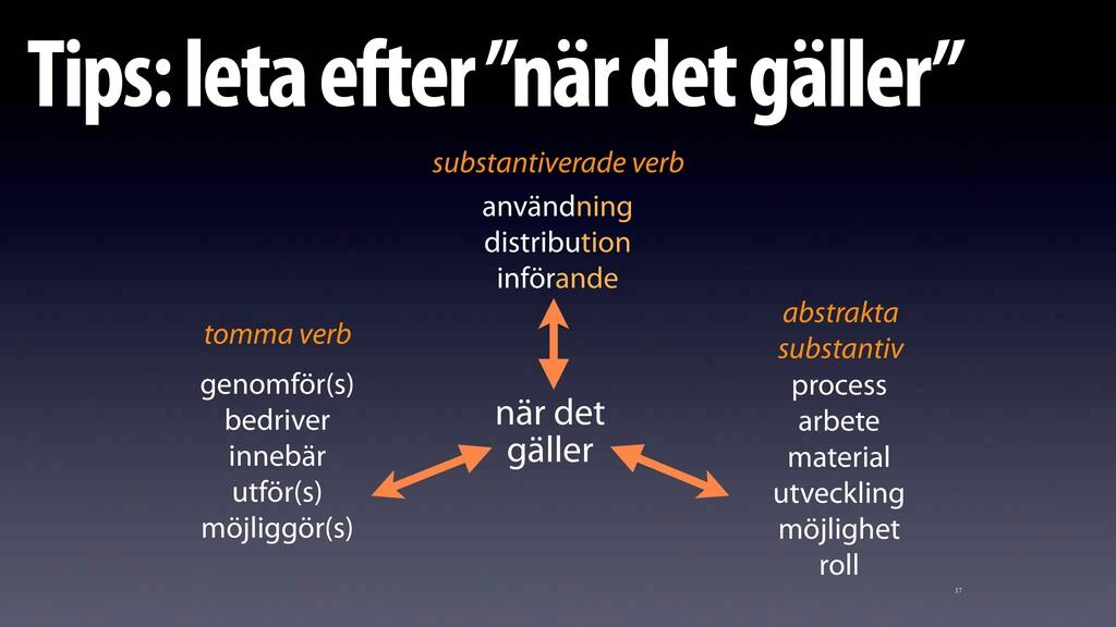 """37 Tips: leta efter """"när det gäller"""" genomför(s..."""