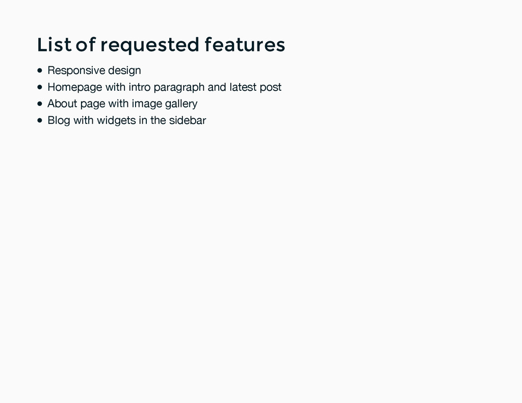 List of requested features List of requested fe...