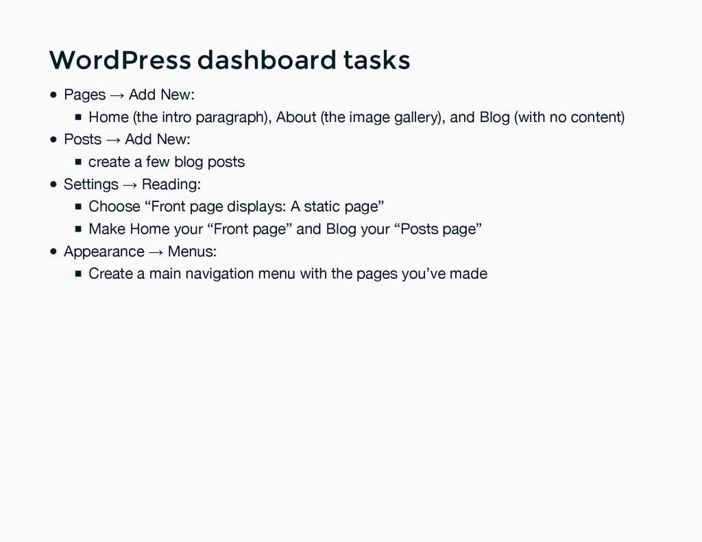 WordPress dashboard tasks WordPress dashboard t...