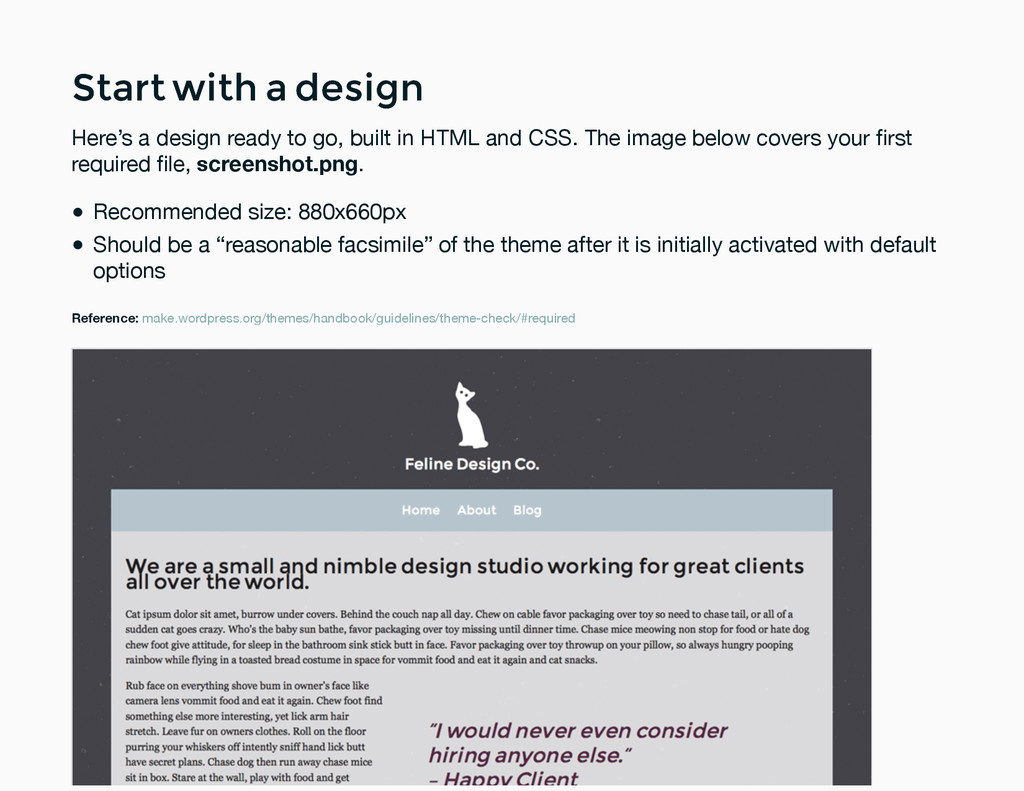 Start with a design Start with a design Here's ...