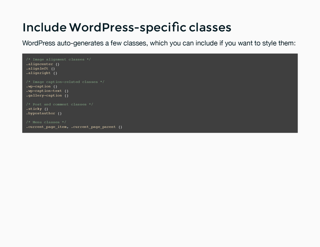 Include WordPress-specific classes Include WordP...
