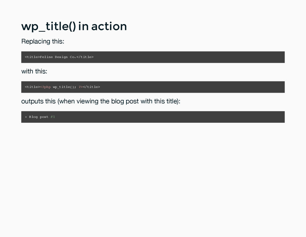 wp_title() in action wp_title() in action Repla...