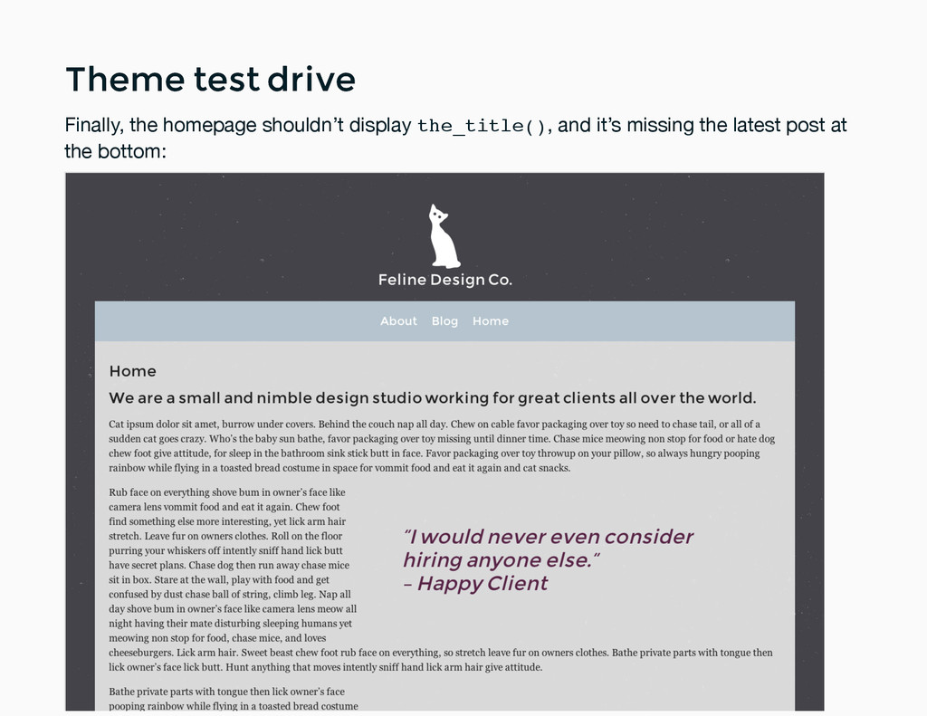 Theme test drive Theme test drive Finally, the ...