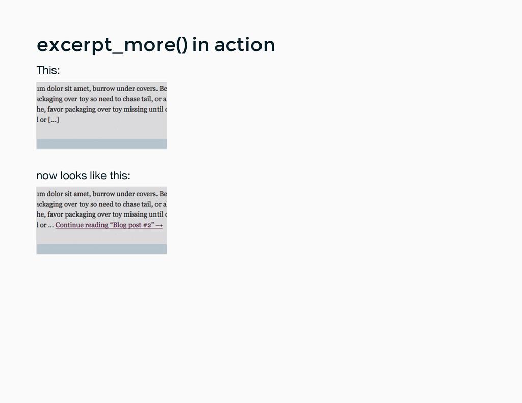excerpt_more() in action excerpt_more() in acti...