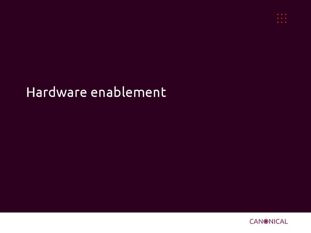 Hardware enablement