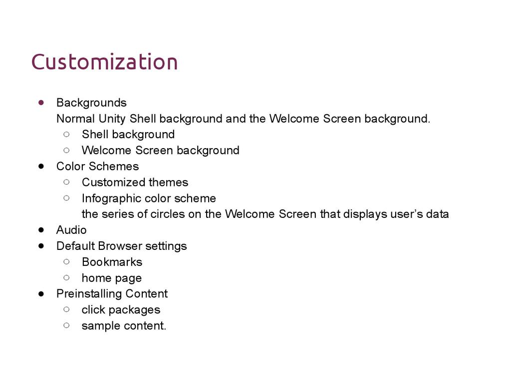 Customization ● Backgrounds Normal Unity Shell ...