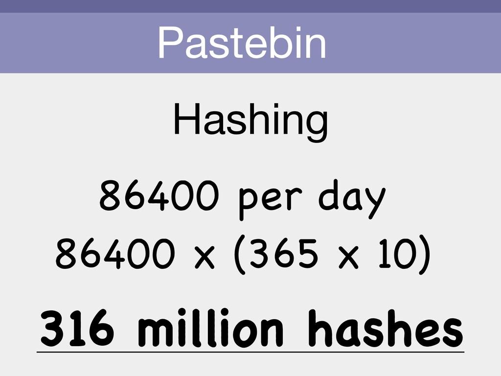 Pastebin Hashing 86400 per day 86400 x (365 x 1...