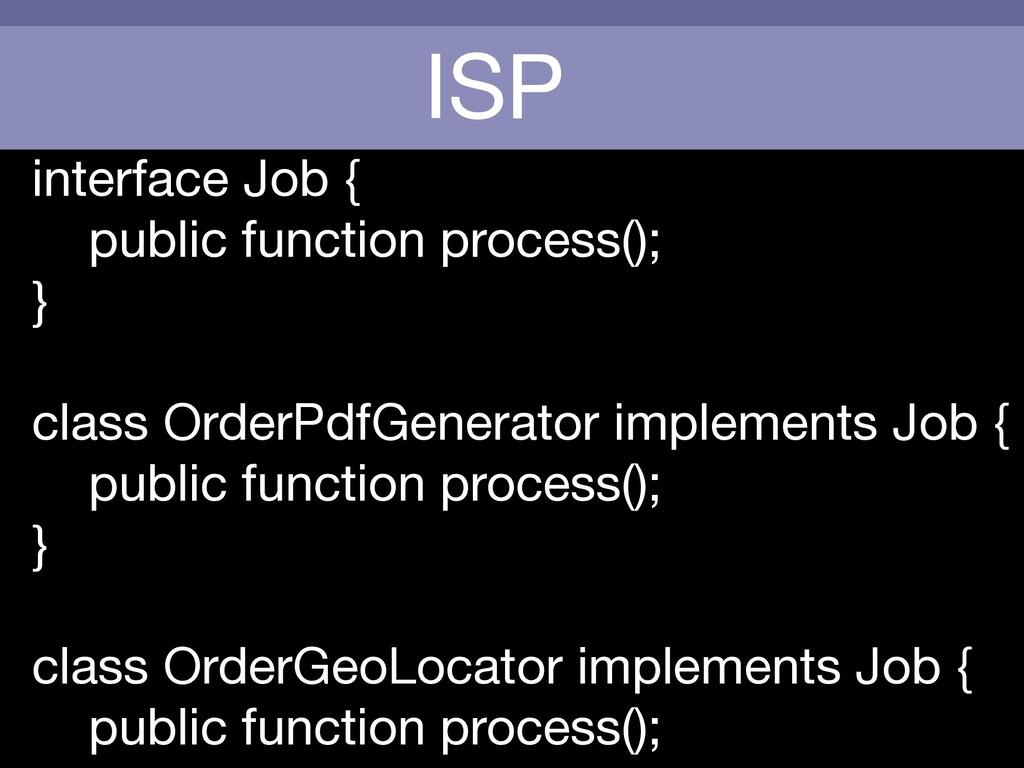 ISP interface Job {  public function process();...