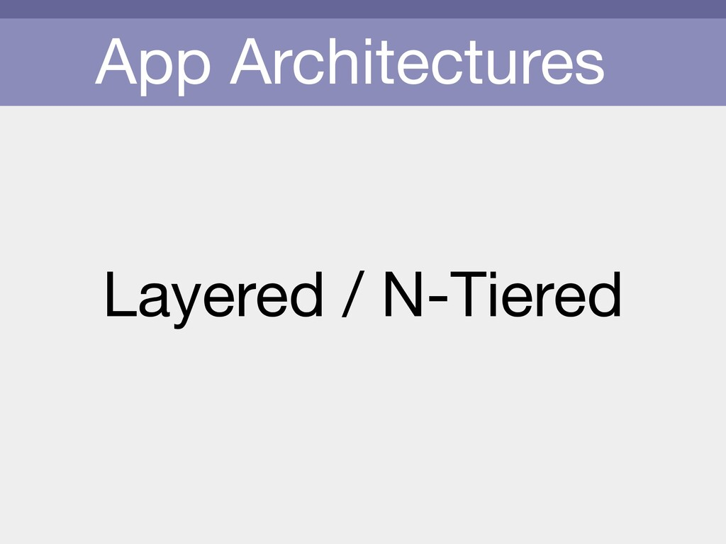 App Architectures Layered / N-Tiered