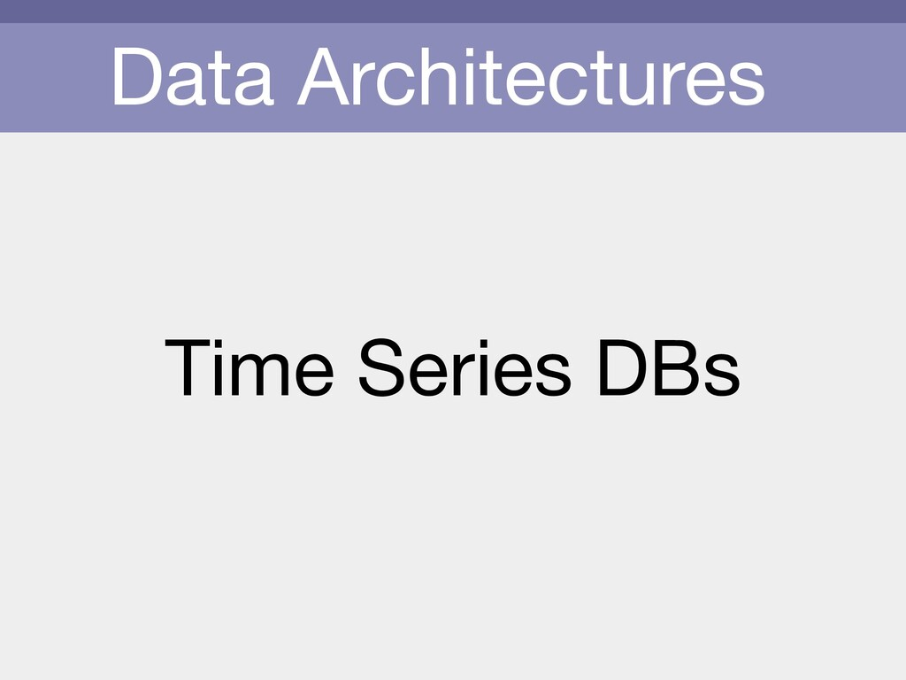 Data Architectures Time Series DBs