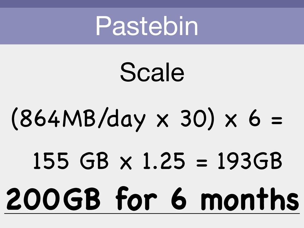 Pastebin Scale (864MB/day x 30) x 6 = 155 GB x ...