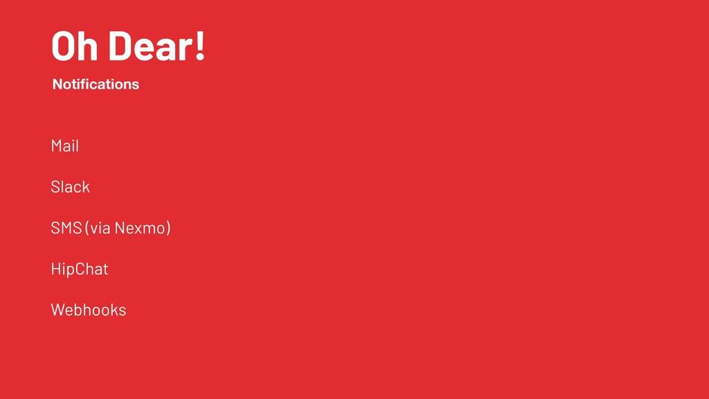 Oh Dear! Mail Slack SMS (via Nexmo) HipChat Web...