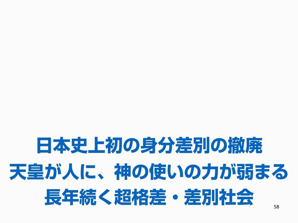 58 長年続く超格差・差別社会 日本史上初の身分差別の撤廃 天皇が人に、神の使いの力が弱まる