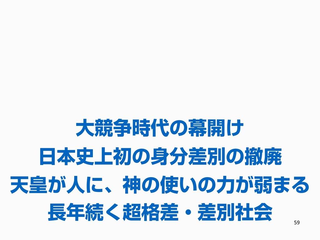 59 長年続く超格差・差別社会 日本史上初の身分差別の撤廃 大競争時代の幕開け 天皇が人に、神...