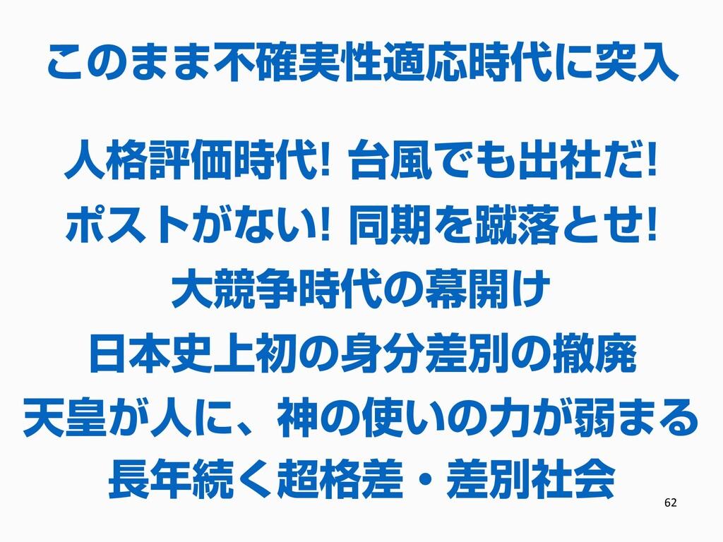 62 長年続く超格差・差別社会 日本史上初の身分差別の撤廃 大競争時代の幕開け ポストがない!...